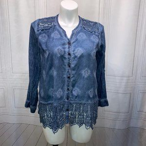 Chico's Blue Long Sleeve Button Down Lace L